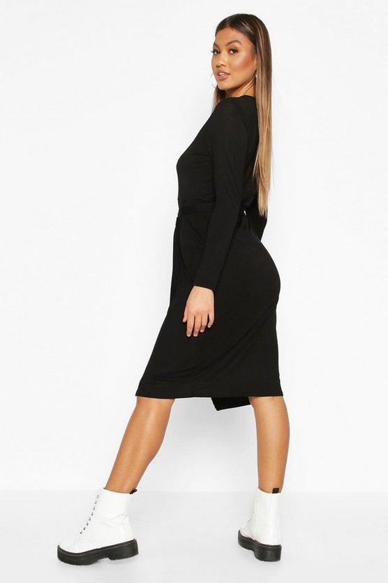 Wrap Belted Long Sleeve Midi T-shirt Dress