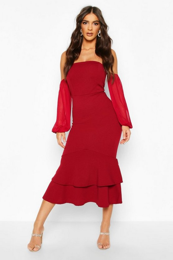 Off Shoulder Mesh Sleeve Fishtail Midi Dress