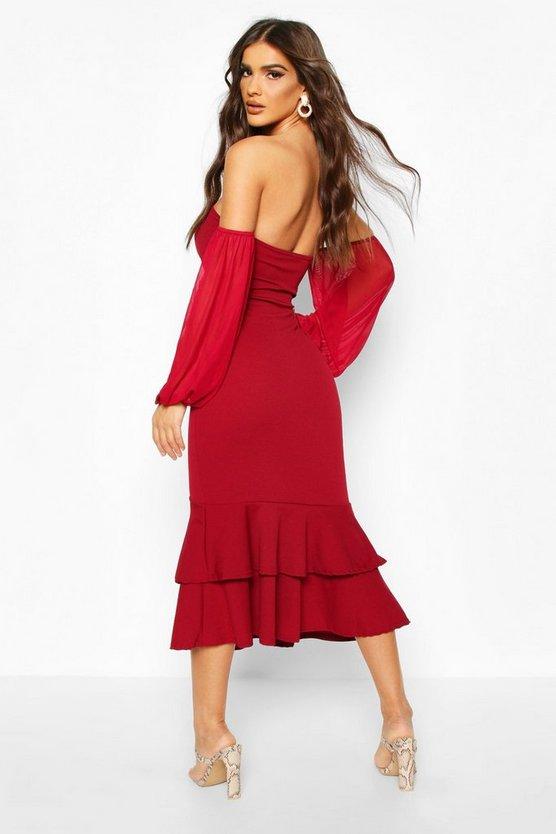 Off Shoulder Mesh Sleeve Fishtail Midi Dress