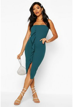 Womens Teal Bandeau Split Ruffle Midi Dress