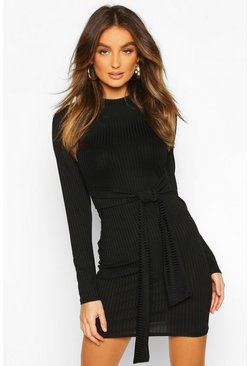 Dam Black Rib Tie Waist Bodycon Mini Dress
