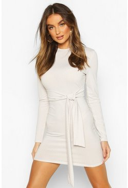 Ecru Rib Tie Waist Bodycon Mini Dress