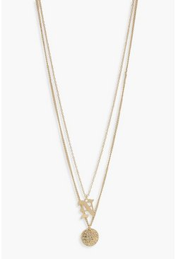 Womens Gold N Initial & Circle Layered Necklace