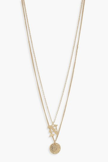 Gold N Initial & Circle Layered Necklace