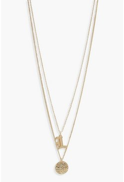Gold L Initial & Circle Layered Necklace