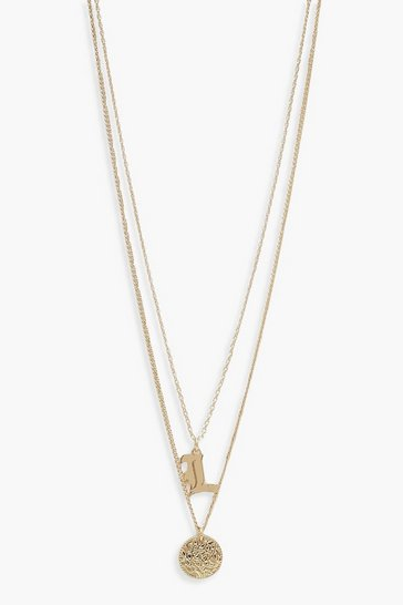 Womens Gold L Initial & Circle Layered Necklace