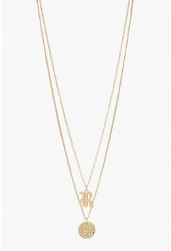Womens Gold R Initial & Circle Layered Necklace