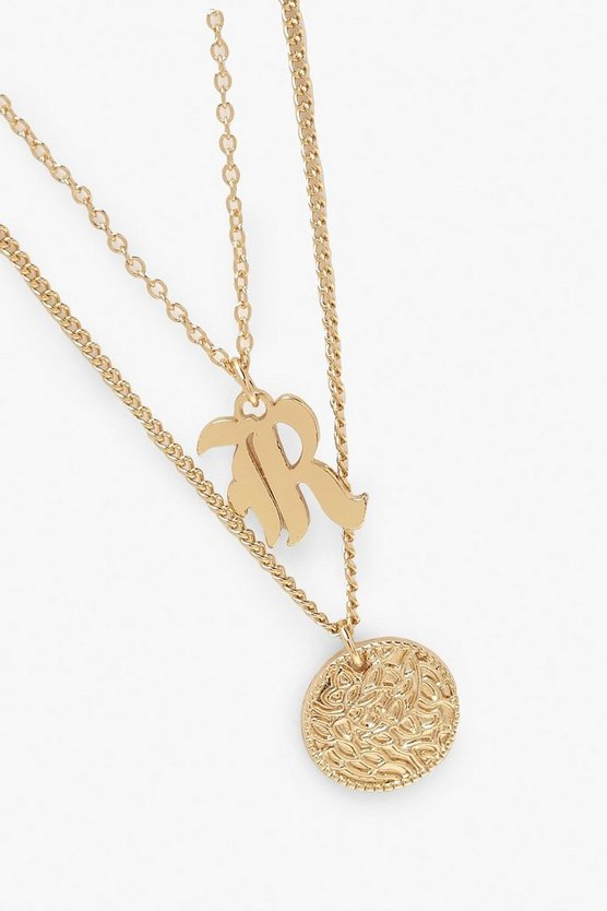 R Initial & Circle Layered Necklace
