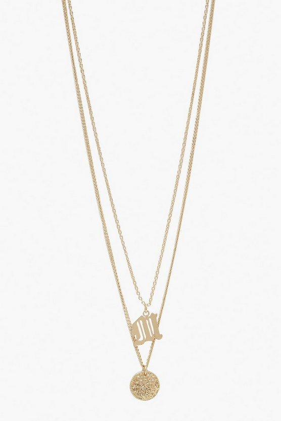 Gold M Initial & Circle Layered Necklace