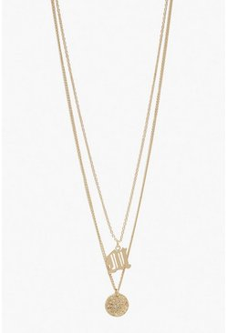 Womens Gold M Initial & Circle Layered Necklace
