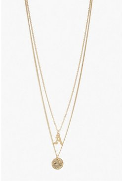 Womens Gold A Initial & Circle Layered Necklace