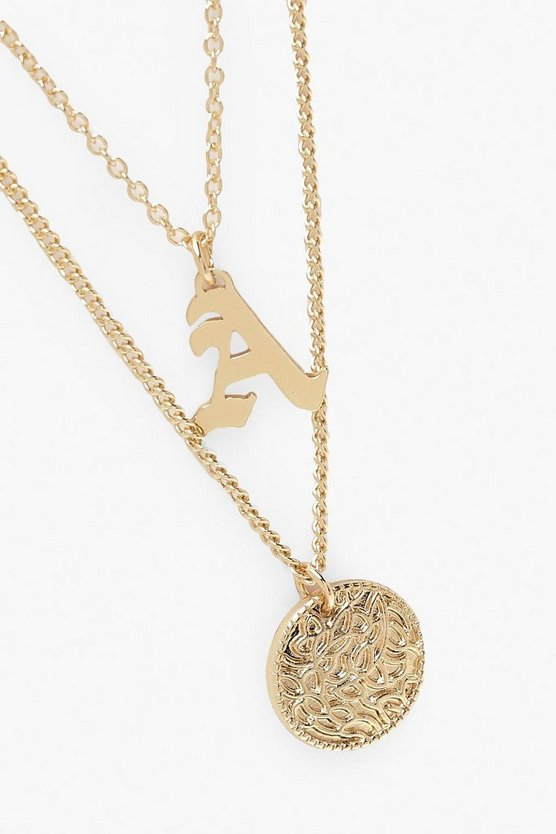 A Initial & Circle Layered Necklace