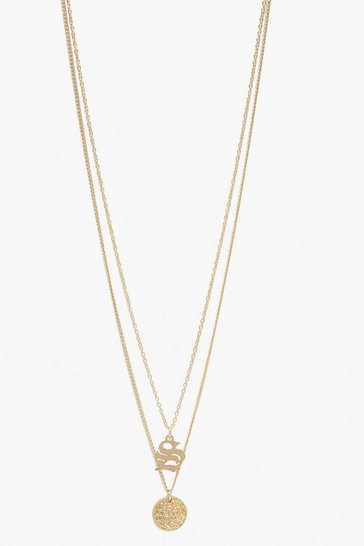 Womens Gold S Initial & Circle Layered Necklace