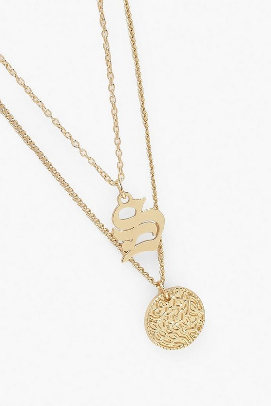 S Initial & Circle Layered Necklace