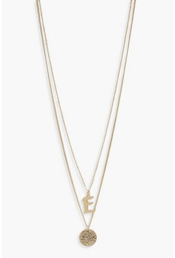 Womens Gold E Initial & Circle Layered Necklace