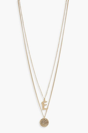 Gold E Initial & Circle Layered Necklace