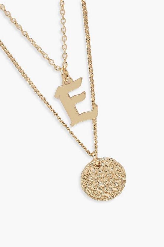 E Initial & Circle Layered Necklace