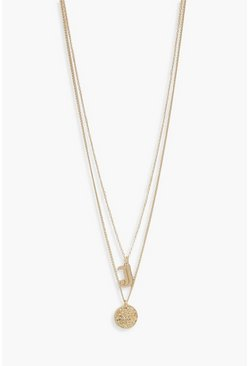 Womens Gold J Initial & Circle Layered Necklace