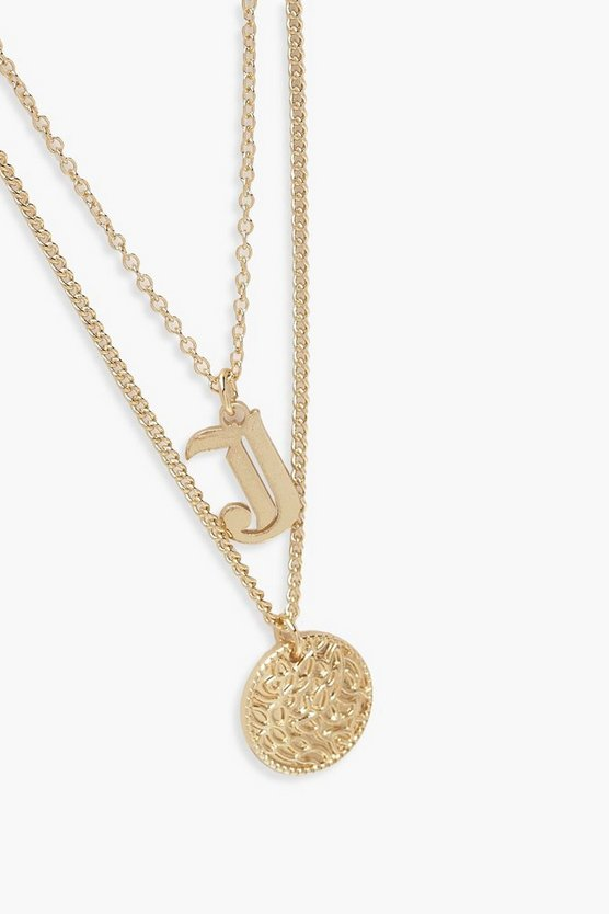 J Initial & Circle Layered Necklace