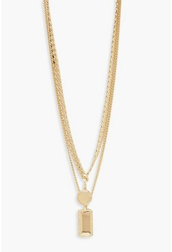 Womens Gold Tag & Circle Double Layer Chain Necklace