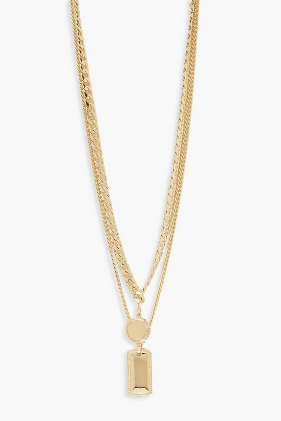 Tag & Circle Double Layer Chain Necklace