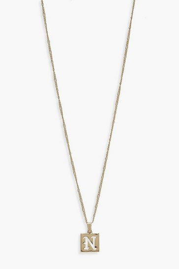 Gold N Initial Square Pendant Necklace