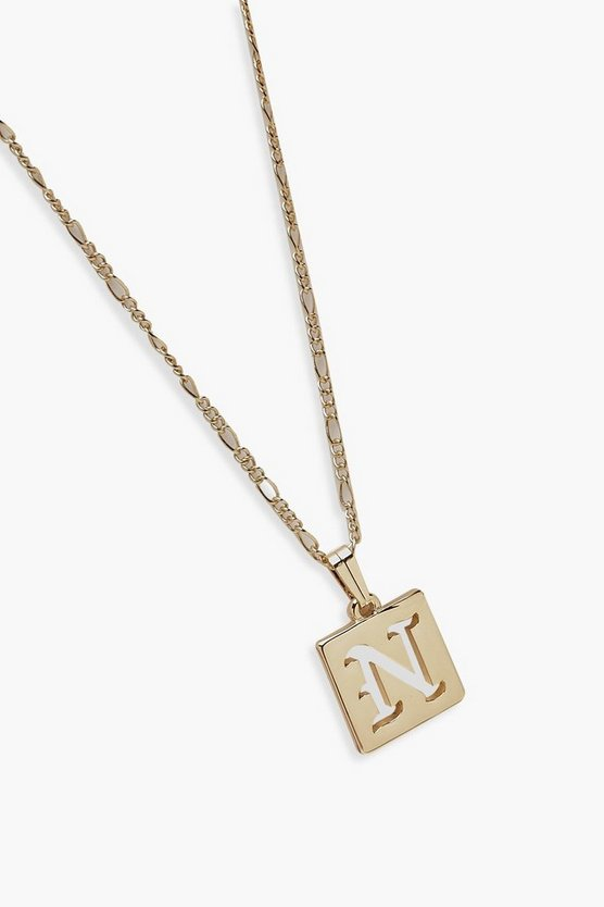 N Initial Square Pendant Necklace