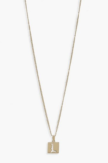 Gold L Initial Square Pendant Necklace