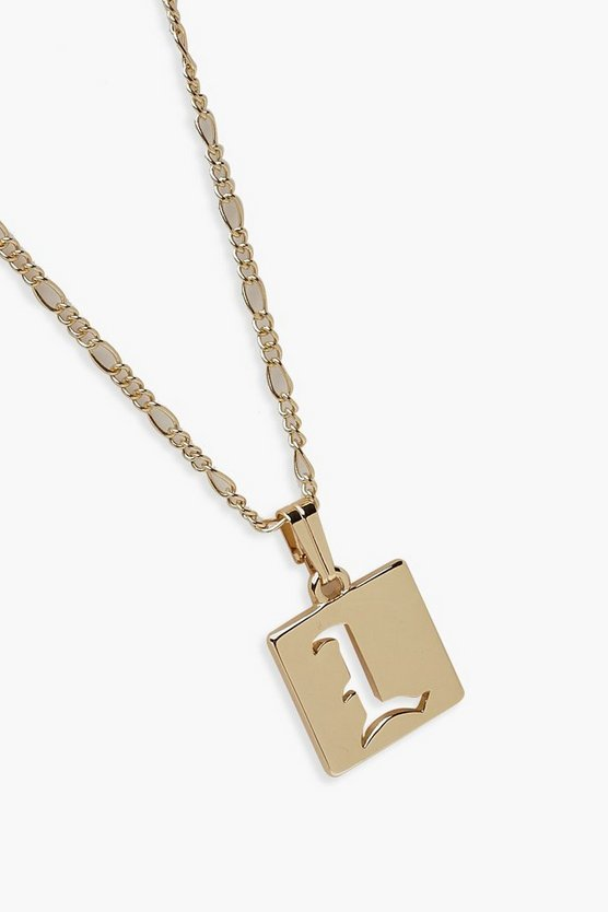 L Initial Square Pendant Necklace