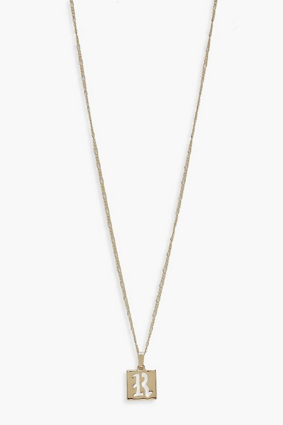 Gold R Initial Square Pendant Necklace