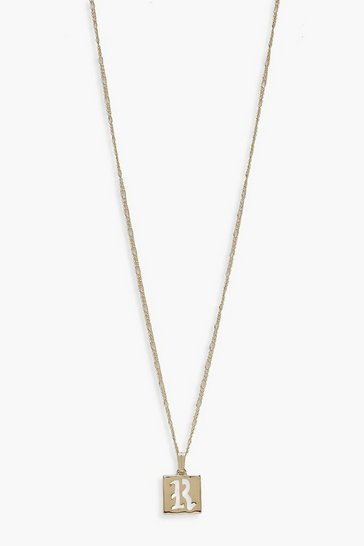 Womens Gold R Initial Square Pendant Necklace