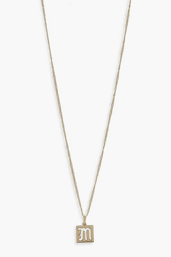 Gold M Initial Square Pendant Necklace