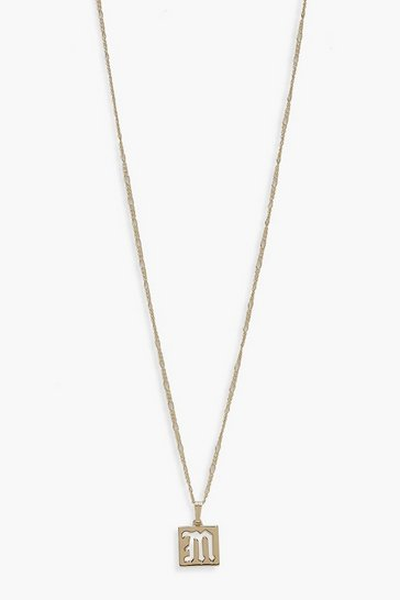 Womens Gold M Initial Square Pendant Necklace