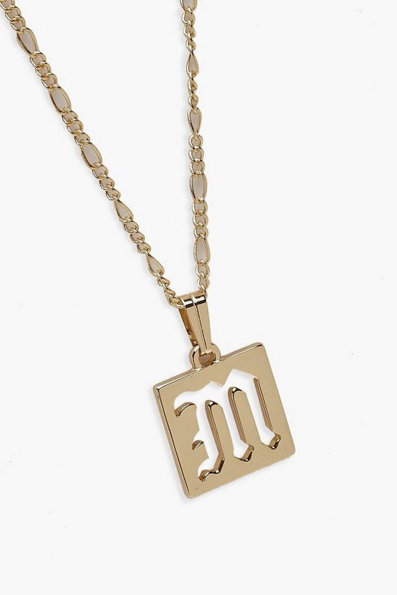 M Initial Square Pendant Necklace
