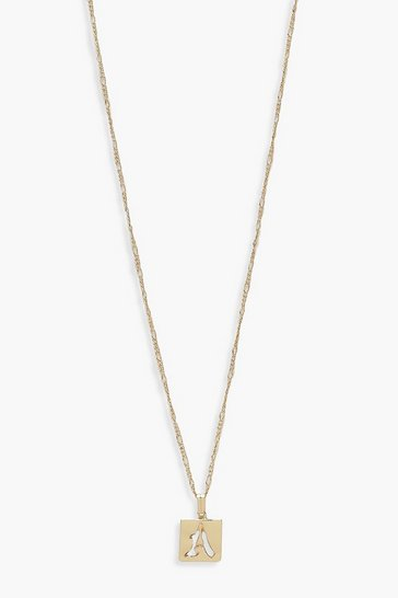 Womens Gold A Initial Square Pendant Necklace