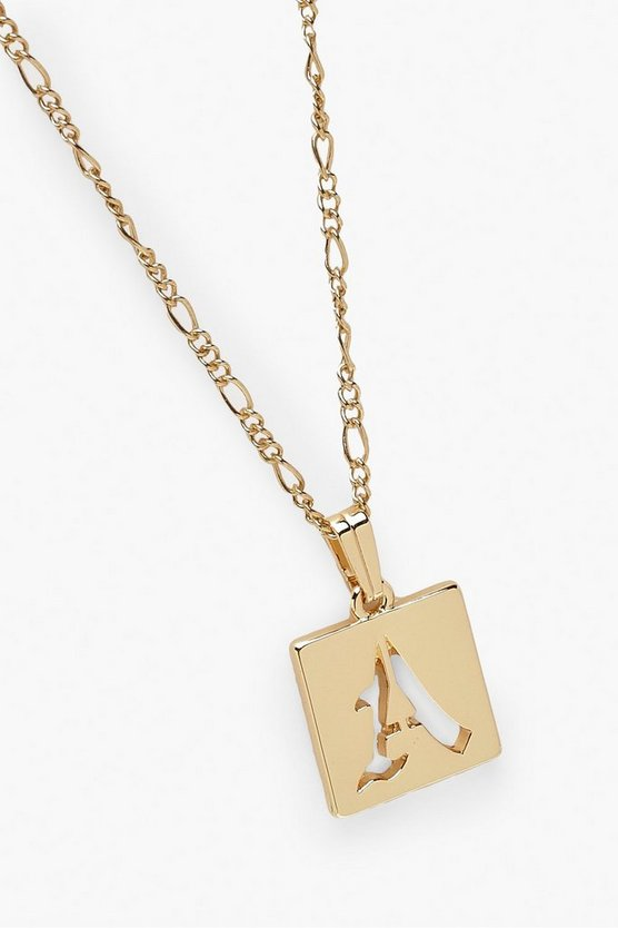 A Initial Square Pendant Necklace