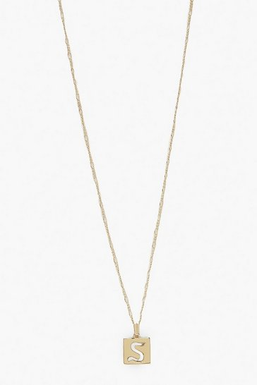 Gold S Initial Square Pendant Necklace