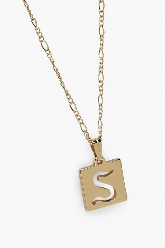 S Initial Square Pendant Necklace