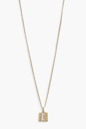 Gold E Initial Square Pendant Necklace