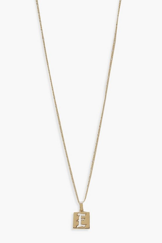 E Initial Square Pendant Necklace