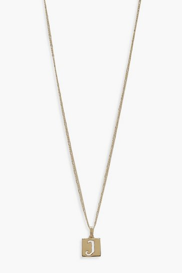 Gold J Initial Square Pendant Necklace