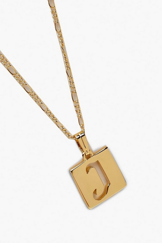 J Initial Square Pendant Necklace