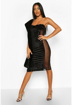 Black Bandeau Cupped Mesh Panel Velvet Midi Dress