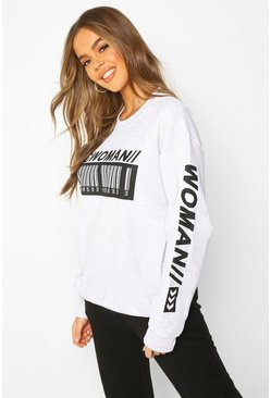 Dam Grey marl Woman Barcode Oversized Sweatshirt