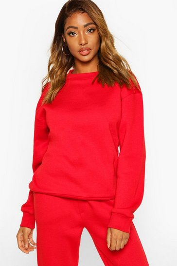 Womens Red Oversized Crew Neck Sweatshirt