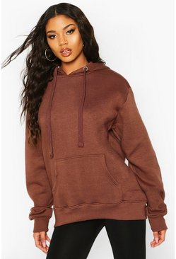 Womens Chocolate Oversized Longline Hoodie