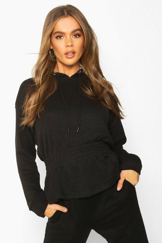 Black Soft Shirred Waist Hoodie
