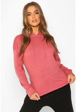 Womens Rose Soft Shirred Waist Hoodie