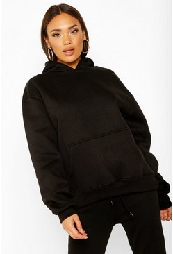 Womens Black Oversized Heavyweight Hoodie