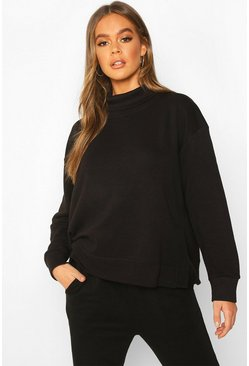 Dam Black Roll Neck Oversized Sweat Top